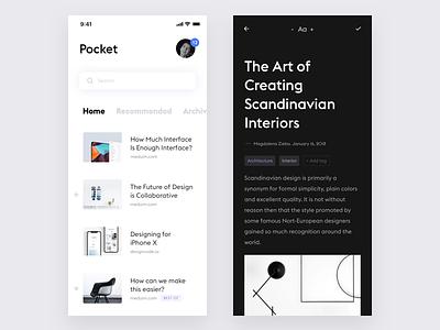 Pocket App Redesign #2 minimal clean flat product design design ui ux news reader app ios iphone white black articles