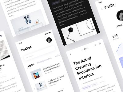 Pocket App #3 articles black white app ios iphone news reader design ui ux product design minimal clean flat