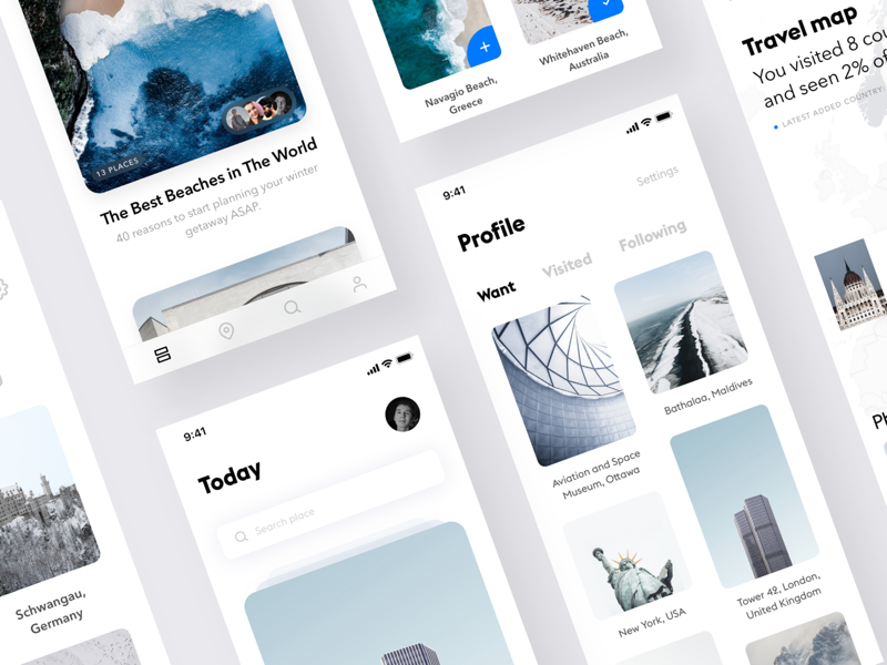 Travel app #3 white unsplash ui travel simple mobile minimalistic ios clean app