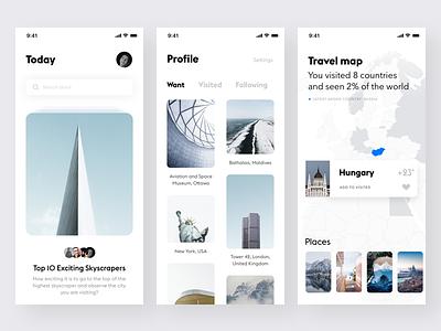 Travel app #4 white unsplash ui travel simple mobile minimalistic ios clean app