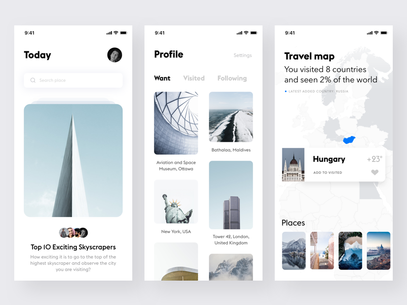 Travel app #4 white unsplash ui travel simple mobile minimalistic ios clean app