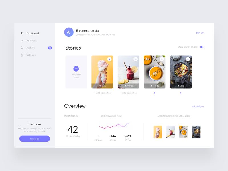 Stories widget dashboard analytics desktop app ui stories web dashboard white clean