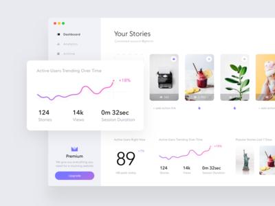 Stories widget dashboard #2 account stats statistic white web ui stories desktop dashboard clean app analytics