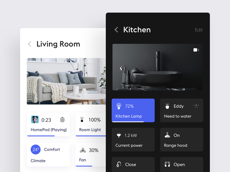Smart Home App simple smart home white product design flat clean minimal design ui ux black app ios iphone