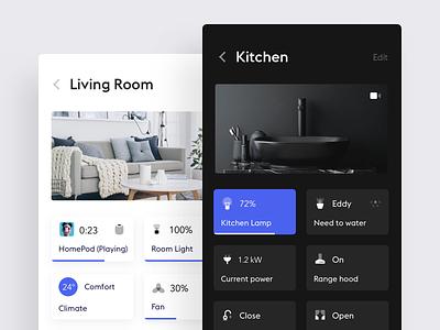 Smart Home App simple smart home white product design flat clean minimal design ui ux black app ios iphone