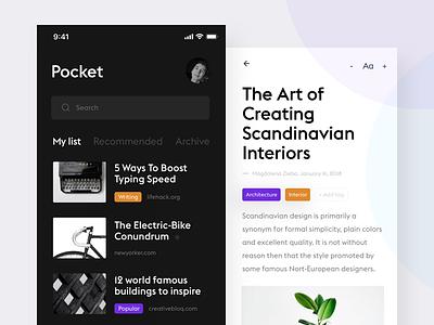 Reading App white product design news reader flat clean minimal design ui ux black articles app ios iphone