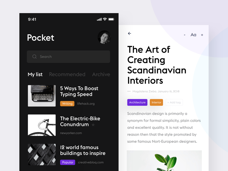 Reading App white product design news reader flat clean minimal design ui ux black articles app ios iphone