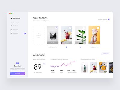 Stories widget dashboard #3 account stats statistic white web ui stories desktop dashboard clean app analytics