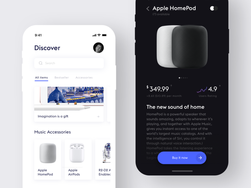 E-commerce app e-commerce minimalistic product design design ui ux interface minimal simple ios app ui white clean