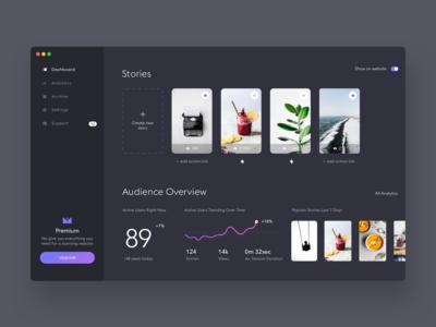 Stories widget dashboard. Dark theme. product design minimalistic design ui ux ui interface minimal clean web app dark dashboard