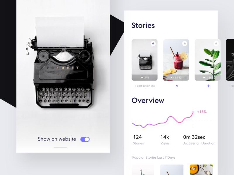 Stories dashboard mobile minimalistic design ui ux simple minimal ios app white ui clean