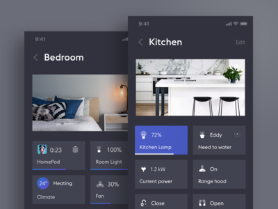 Smart Home App. Dark Theme