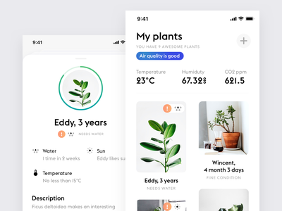 My plants app plants app ios iphone flat product design design ui ux minimalistic minimal simple ios app white ui clean