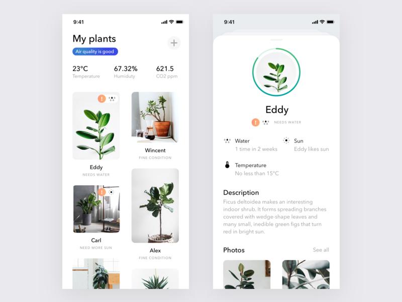 Plants App Concept app ios iphone product design interface simple ios design ui ux minimalistic minimal app white ui clean