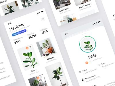 Plants app product design app ios iphone design ui ux minimalistic interface mobile minimal simple ios app white ui clean