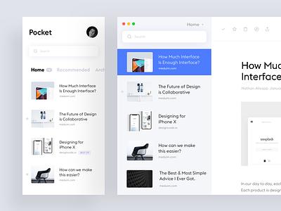 Pocket app concept design ui ux minimalistic interface mobile minimal simple ios app white ui clean