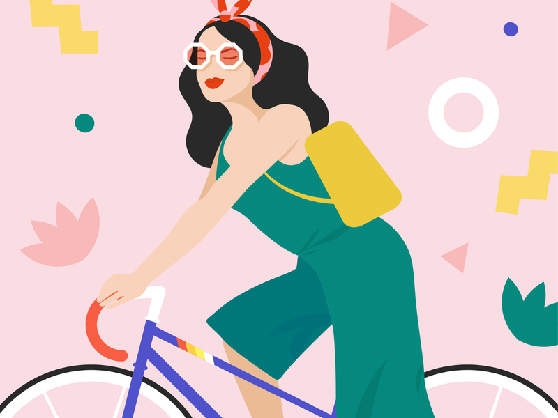 Racing Bike Girl editorial illustration memphis art sunglasses girl girl vintage bike sunglasses bike girl vector art vector illustration vector peugeot bike racing bike