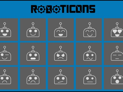 ROBOTICONS icon app illustration emoticon logo