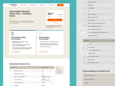 Health Insurance Website Redesign - Product Page ux design ui design ux ui website design health insurance
