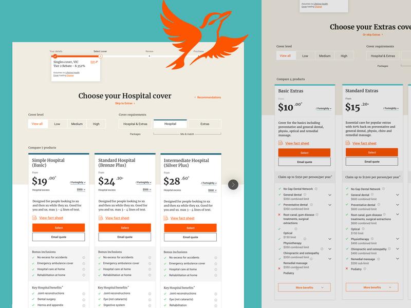 Health Insurance Web Design - Compare Covers website ui design ux design ux ui health insurance