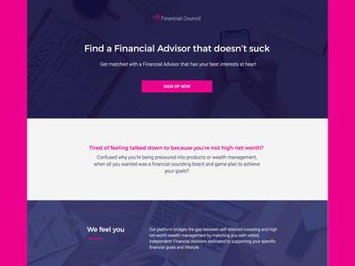 My Financial Council Landing Page Design ui  ux landing page design website