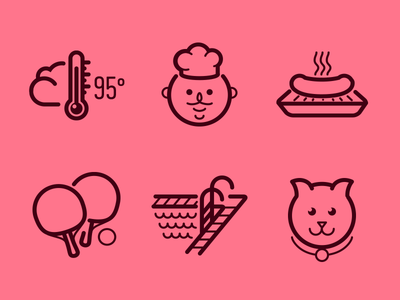 Part of huge icon set pet pool ping pong barbecue grill chef sauna icon set icon