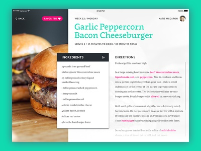 UI Experiment #3 app cooking recipe ipad user interface ui