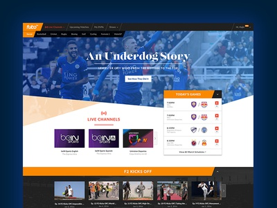 FuboTV Concept football user interface ui tv streaming soccer fubotv
