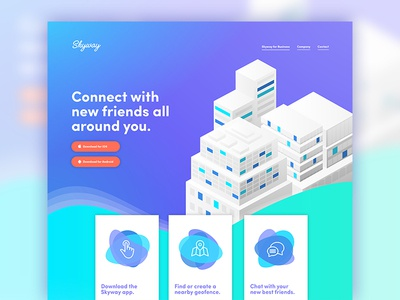 Skyway Landing Page gradient ui chat geolocation geofence skyway page landing app