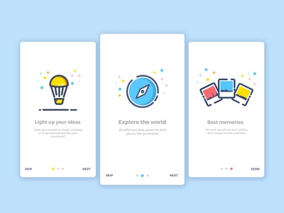 Onboarding Screens photo vacation ios vector illustration mobile ui invite design app ux mobile ui screens red blue yellow creative icons clean onboarding