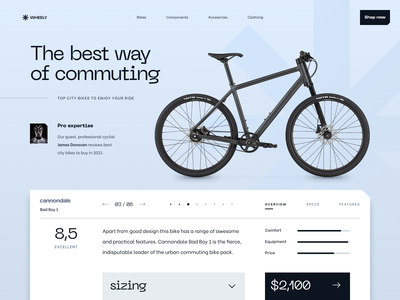 Bike review page shop review cycling bike desktop interface concept ui