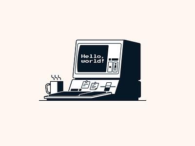 Retro computer adobe illustrator vector geometic apple computer retro monochrome illustraion