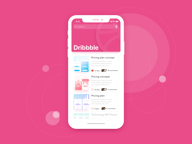 Hello Dribbble shot iphone x mobile ui sketch concept illustration