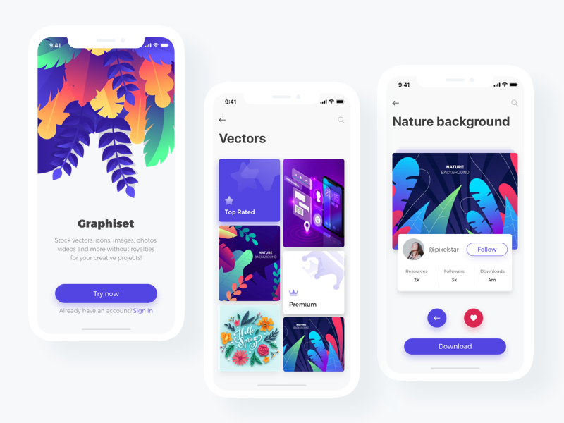 Graphiset - Mobile App x design iphone ux shot iphone x mobile ui concept sketch vector illustration