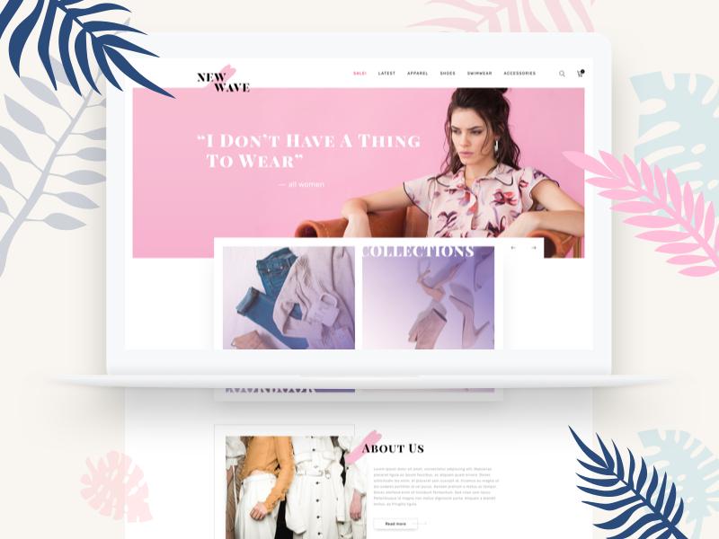 Online Shop - New Wave macbook shop typography design landing web ux vector shot concept ui sketch illustration