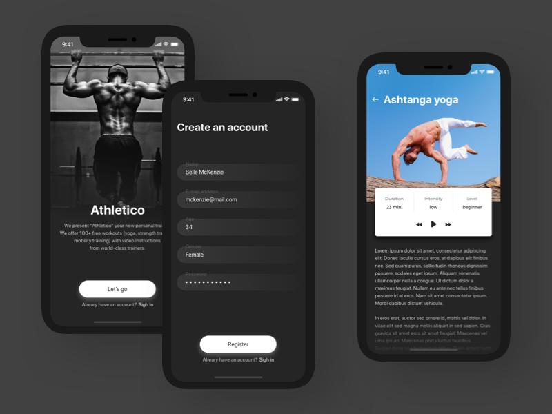 Athletico - Sport App concept app typography vector x iphone design iphone x ux mobile shot concept ui sketch illustration