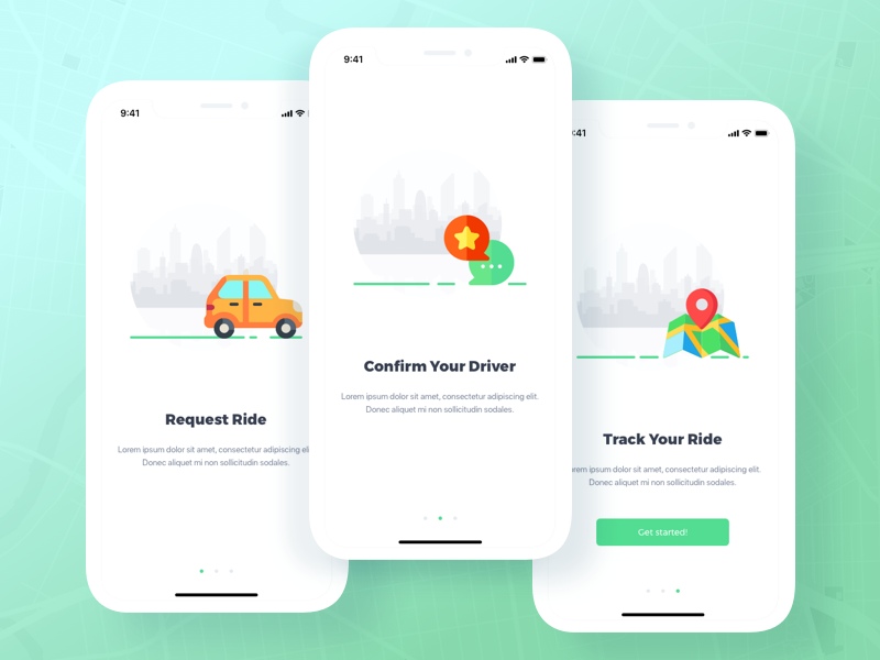 Taxi App onboarding illustration x iphone vector iphone x design mobile ux shot concept ui sketch