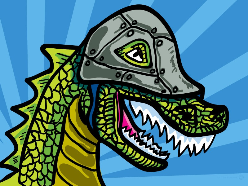 Dino Wearing Helmet illustration helmet dino
