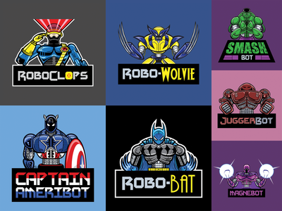 Robo Designs 2019 superhero super hero comic comicsart mashup crossover robotics appareldesign apparel tshirtdesign tshirt illustrations illustration graphic design design comic book comics robots