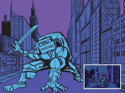 Turtle Bot Design 2019 design illustrator digital drawing illustration movies movie comics comic manhattan newyork turtles turtle robots robot