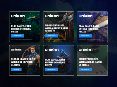 Special Promotional Banners For Esports Betting Platform Unikrn dark creative abstract clean unikrn branding betting esports gaming advertisements marketing ui design banners promotional