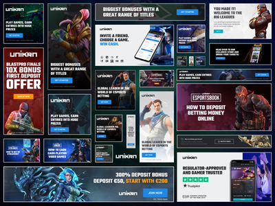 Special Promotional Banners For Esports Betting Platform Unikrn ui esports gaming unikrn banners promotional advertisements marketing illustration design creative abstract simple dark clean