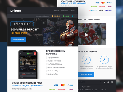 HTML Newsletter Template For Esports Betting Unikrn template newsletter html marketing design creative abstract simple dark clean minimal