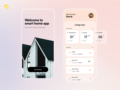 Smart Home App Design welcome page controler indicators app design android app ios app switches clean comfortable personalized clean ui user friendly concept automation smarthome design concept app ux ui design