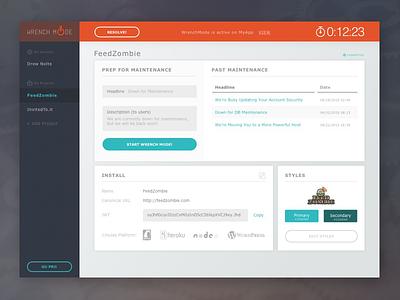 WrenchMode Dashboard startup maintenance admin ux ui product interface dashboard