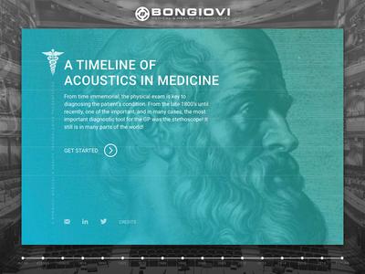 Bongiovi Medical Timeline interaction ui card gradients web timeline microsite website