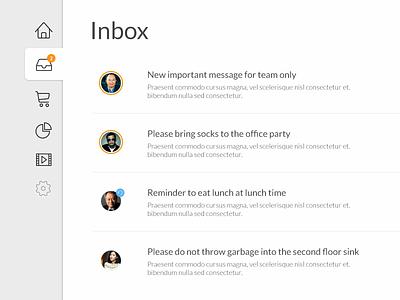 Simple Internal Inbox Interface side nav messages ui interface inbox