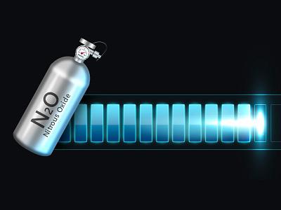 NOS Bar nos nitrous oxide bar icon 3d progress light optical flare metallic