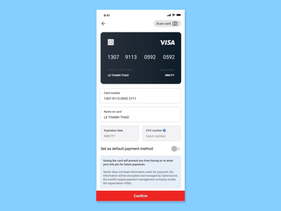 Add new Credit Card vietnam flat design app mobile uidesign animation uiux ui