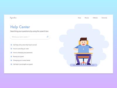 Help Center flat homepage vietnam faq illustration layout website ux ui design help center
